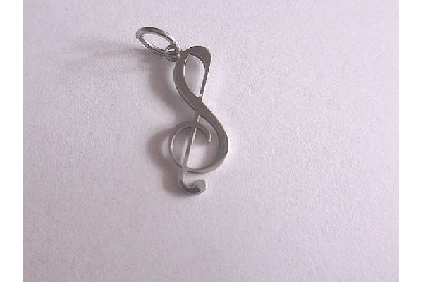 pendant treble clef- stainless steel